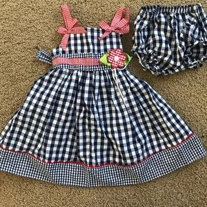 Other - Baby girl 9M navy check dress and diaper cover